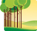 Green forest a stylized illustration of summer Royalty Free Stock Photography