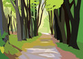 Green Forrest Trees Vector Royalty Free Stock Photo