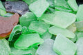 Green Fragments of Beach Glass Royalty Free Stock Photo