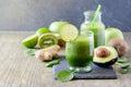 Green fresh detox vegan smoothie, healthy beverage, energy diet Royalty Free Stock Photo