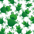 Green frog animal looks at you seamless pattern