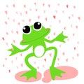 Green frog love rainy day Royalty Free Stock Photo
