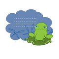 Green frog sitting on a lily pad vector vector illustration white background Royalty Free Stock Photos
