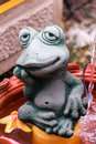 Green frog statue art object Stock Photo