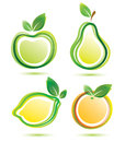 Green fruits icons set Stock Photo