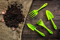 Green garden tools and ground for planting flowers on wooden table background top view