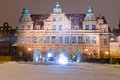 Green gate of Gdansk old town in winter scenery Royalty Free Stock Photos