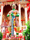 A green giant statue stands guarding in front of the chapel in wat pho chae bangbon bangkok thailand Royalty Free Stock Photos