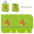 Green gift bag template with christmas balls box decoration sparkles and snowflakes Royalty Free Stock Photos