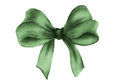 Green gift bow. Watercolor drawing