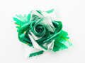 Green gift bows with ribbon isolated on white Stock Images