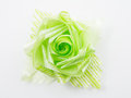 Green gift bows with ribbon on white Stock Images