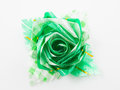 Green gift bows with ribbon on white Royalty Free Stock Photos