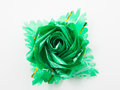 Green gift bows with ribbon on white Royalty Free Stock Photography