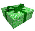 Green gift box - green ribbon Royalty Free Stock Photo