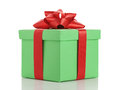 Green gift box with red ribbon bow isolated on white Royalty Free Stock Photo