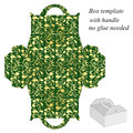 Green gift box template with floral pattern Royalty Free Stock Photo