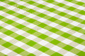 Green gingham checkered tablecloth Royalty Free Stock Image