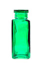 Green glass bottle isolated on the white background Stock Photo