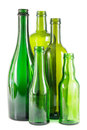Green glass bottles group of empty on white Royalty Free Stock Image