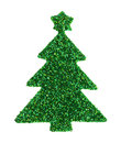Green glitter Christmas tree sticker on a white background Royalty Free Stock Photo