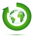 Green globe and arrow Royalty Free Stock Photo