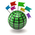 Green globe and flag pin Royalty Free Stock Photo
