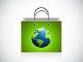 Green globe shopping bag illustration design Royalty Free Stock Photo