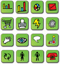 Green Glossy Business Icons Royalty Free Stock Photography