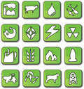 Green Glossy Industry Icons Royalty Free Stock Images
