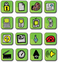 Green Glossy Web Icons Stock Photography