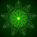 Green glowing mandala in the form of a lotus Royalty Free Stock Photo