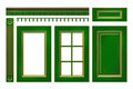 Green with gold door, drawer, column, cornice for kitchen cabinet on white