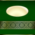 Green and gold invitation card with ornament motif Stock Image