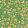Green and gold leaves seamless pattern background vector with abstract plants with fun branches forming a floral Royalty Free Stock Photography
