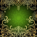 Green-gold vintage floral frame Royalty Free Stock Photo