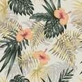 Green gold plants hibiscus seamless beige background