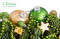 Green and golden Christmas ornaments border Royalty Free Stock Photo