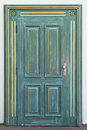 Green door with golden ornament Royalty Free Stock Photo