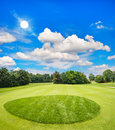 Green golf course and blue sunny sky Royalty Free Stock Photo