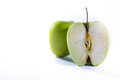 Green Granny Smith Apple Cross Section Slice Halves Fresh Fruit Royalty Free Stock Photo