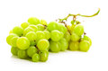 Green grape bunches of grapes isolated over white background Stock Photos