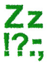Green grass alphabet big and small letter z and punctuation Stock Photo
