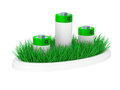 Green grass and battery, ecology concept Stock Photos