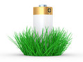 Green grass and battery, ecology concept Stock Images