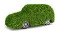Green grass car bio fuel transport vehicle concept Stock Photos