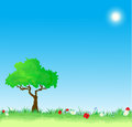 Green grass, flowers and tree, 10eps Royalty Free Stock Photos