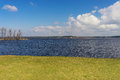 Green grass by the lake on a sunny spring day lawn Royalty Free Stock Photography