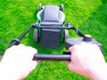 Green grass is mowed by lawn mower Royalty Free Stock Photo