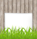 Green grass and paper sheet on wooden texture illustration Royalty Free Stock Photos